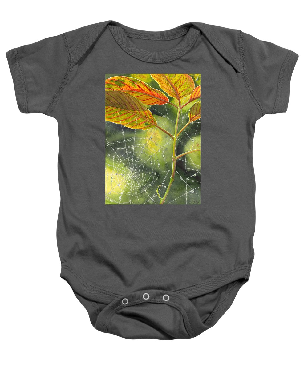 Web Baby Onesie featuring the painting Dew Drop by Catherine G McElroy
