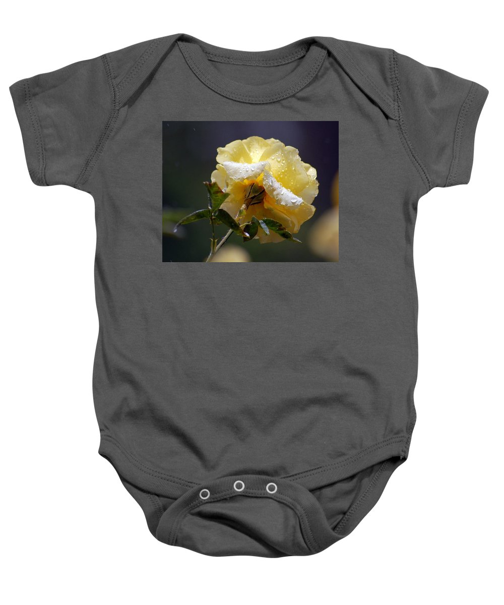 Flower Baby Onesie featuring the photograph Dewy Yellow Rose 1 by Amy Fose