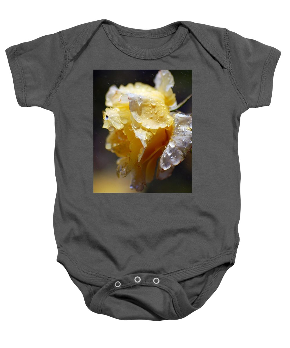 Rose Baby Onesie featuring the photograph Dewy Yellow Rose 2 by Amy Fose