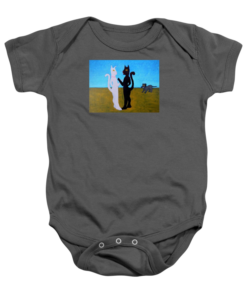 Cats Baby Onesie featuring the painting Different Camps by Bonita Barlow