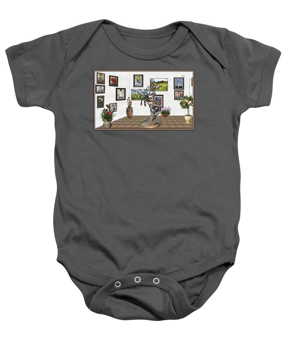 Modern Painting Baby Onesie featuring the mixed media Digital Exhibition _ Statue Of Branches by Pemaro