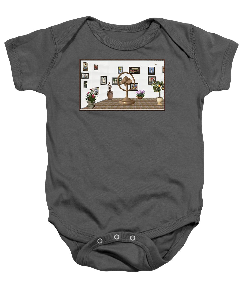 Pemaro Baby Onesie featuring the mixed media digital exhibition _ Statue of fish 1 by Pemaro