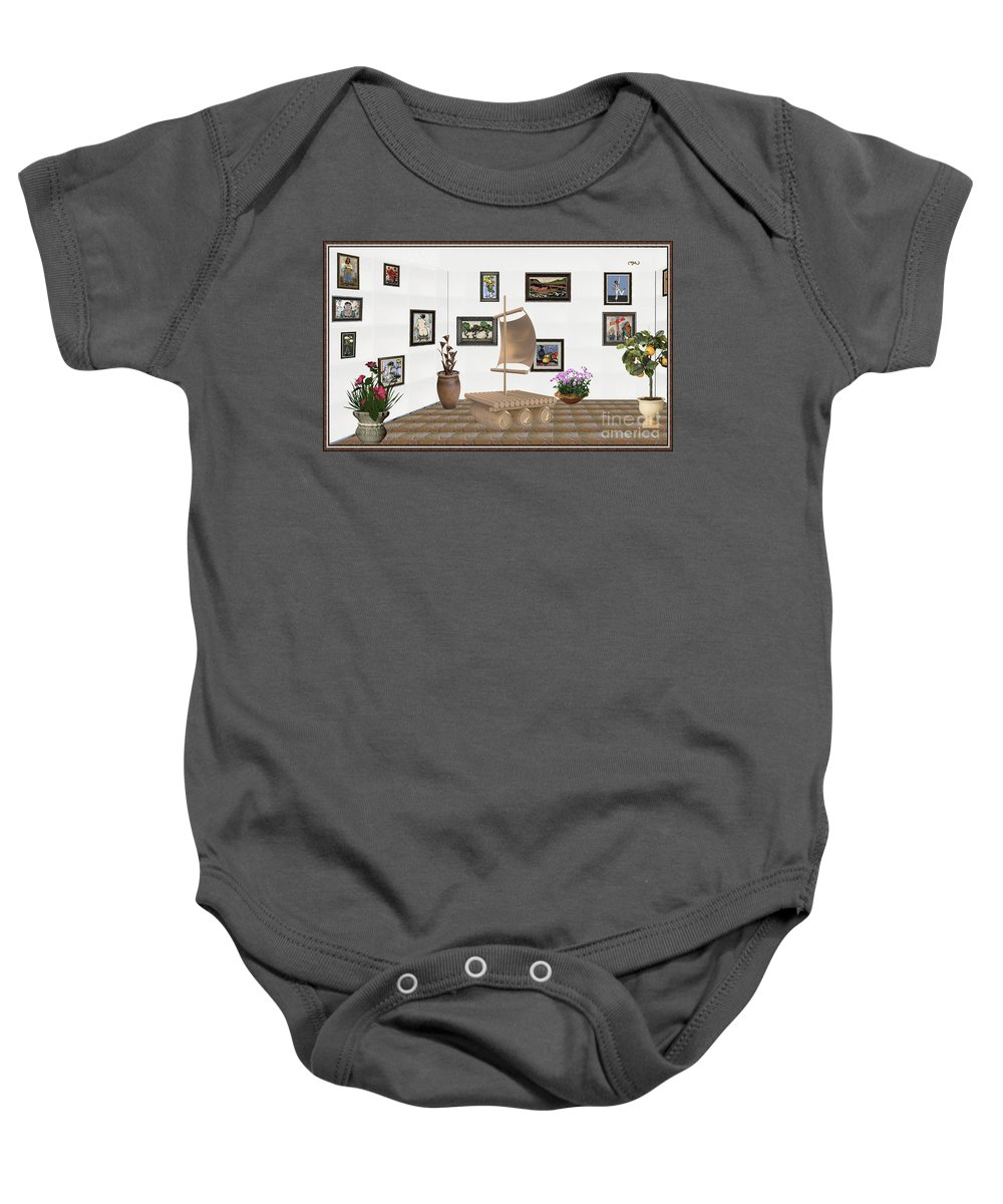Pemaro Baby Onesie featuring the mixed media digital exhibition _ Statue raft with sails 3 by Pemaro