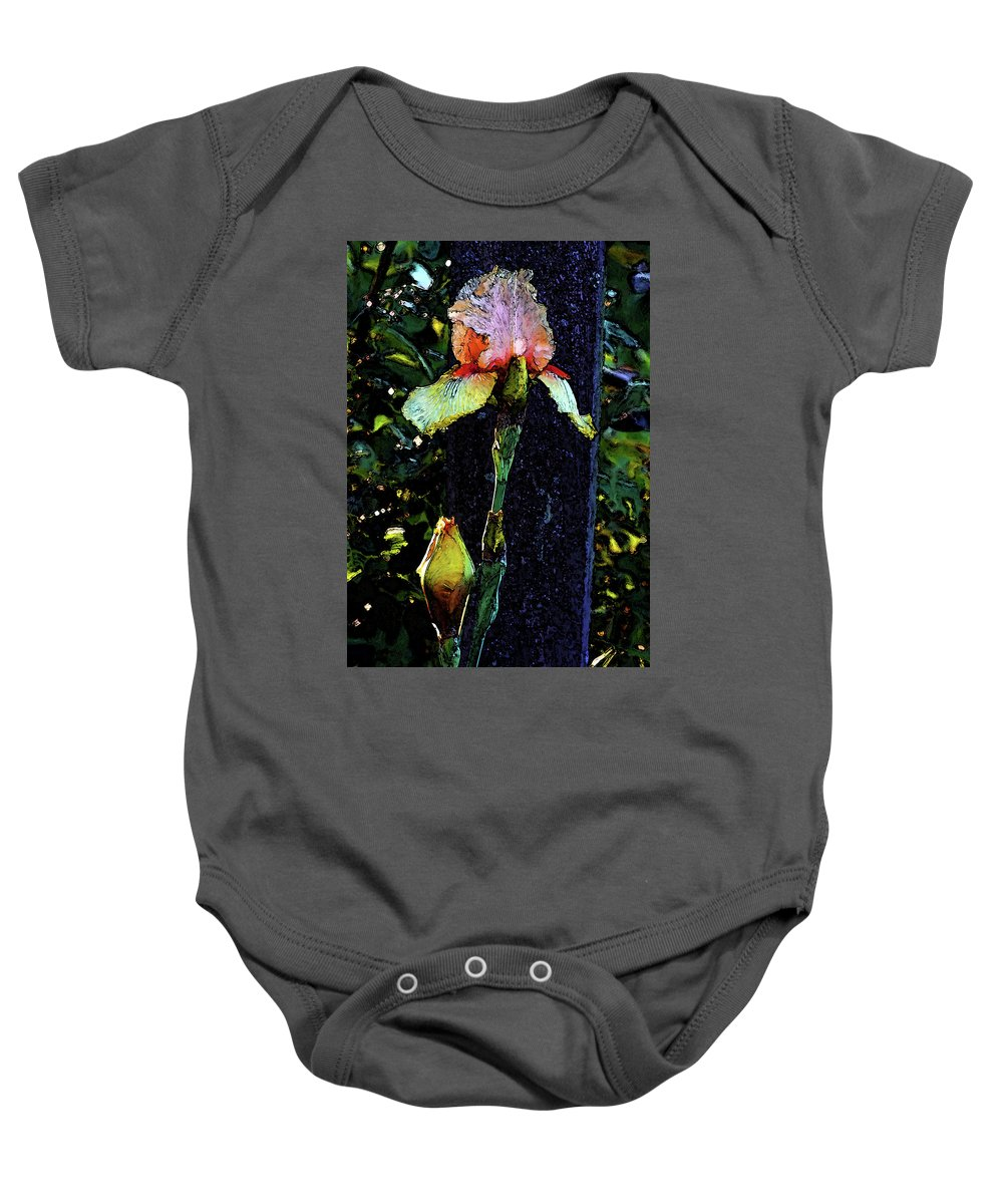 Digital Painting Baby Onesie featuring the photograph Digital Painting Pink And Yellow Iris 6758 Dp_2 by Steven Ward