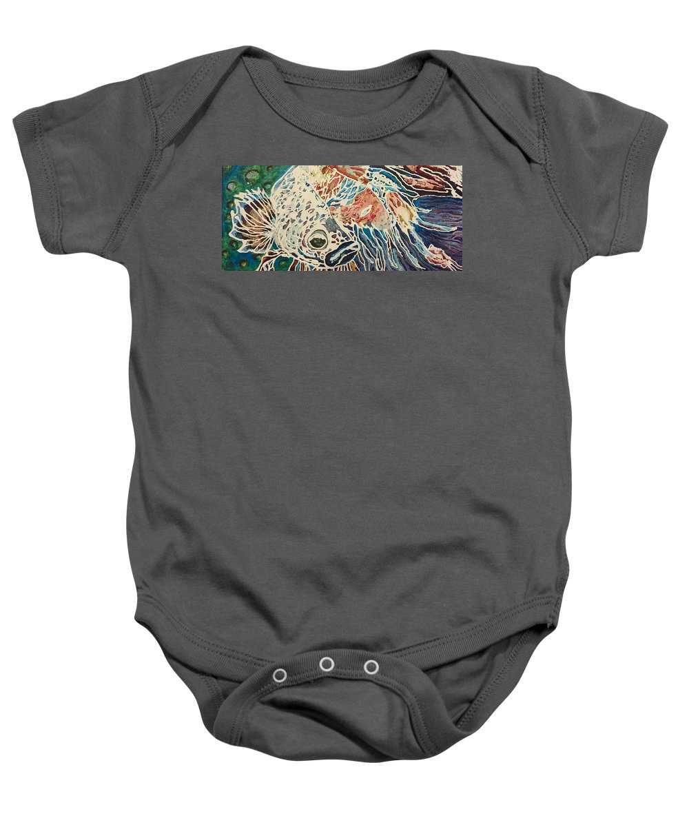 Betta Baby Onesie featuring the painting Diluted Betta by Ethan Dennis
