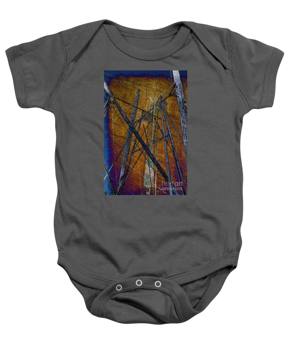 Rust Baby Onesie featuring the photograph Directions In The Sky by Susanne Van Hulst