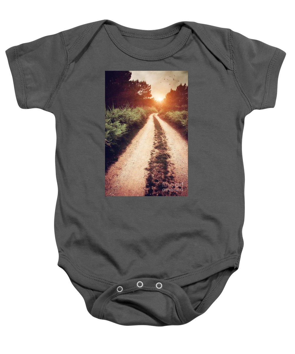 Pathway Baby Onesie featuring the photograph Dirt Trail by Carlos Caetano