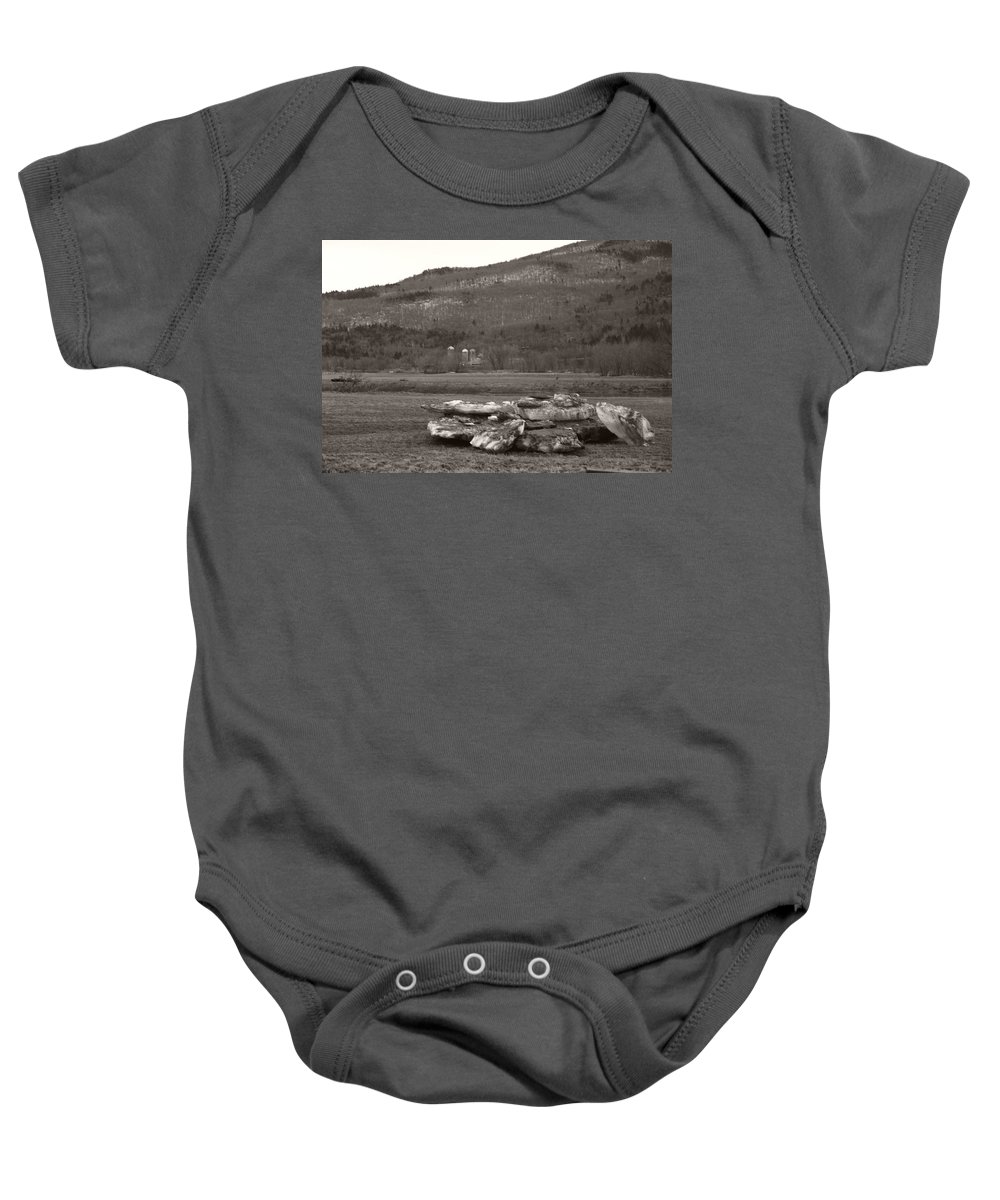 Baby Onesie featuring the photograph Dirty Bergs by Heather Kirk