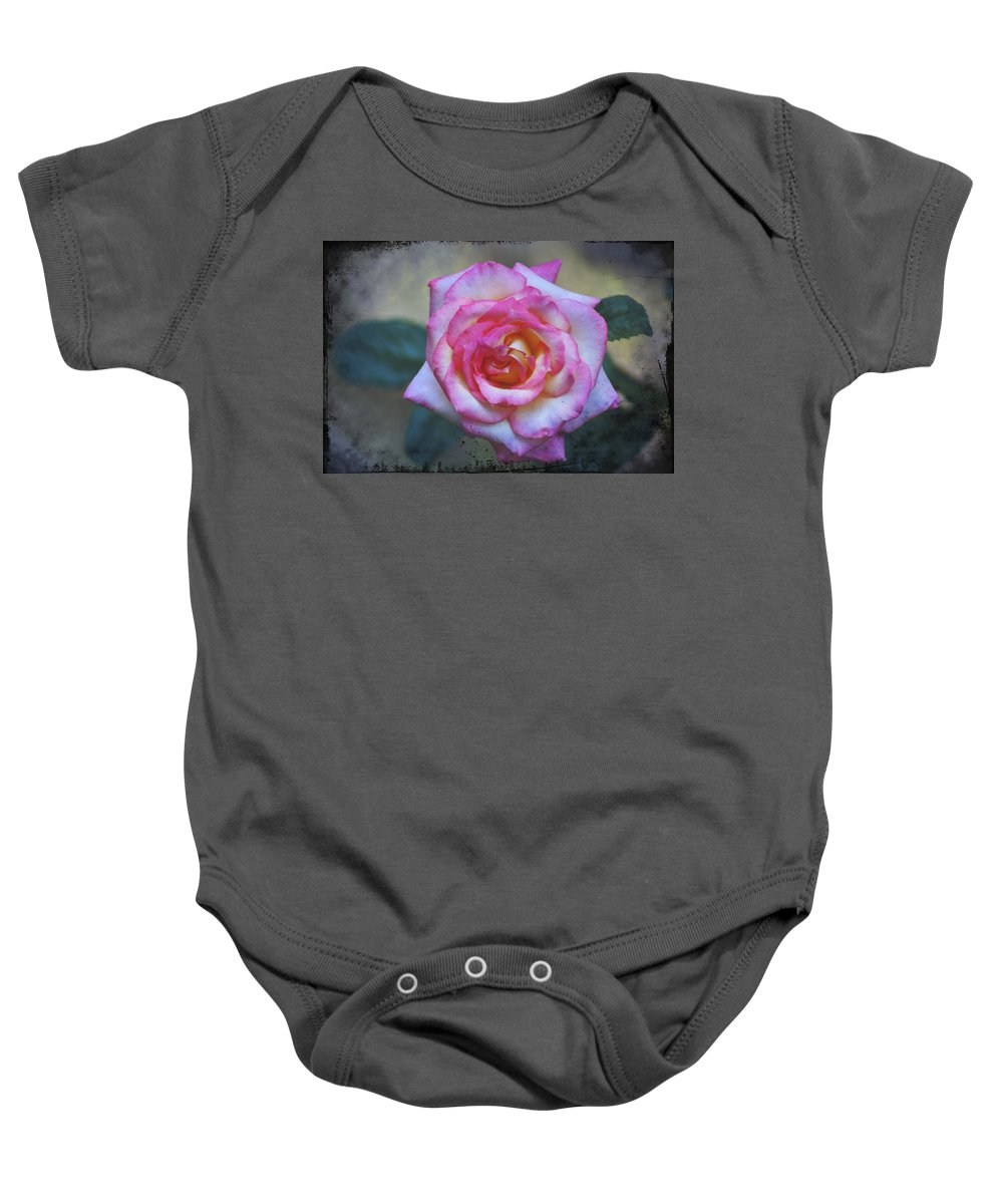 Dirty Baby Onesie featuring the photograph Dirty Pink Rose by Bill Cannon