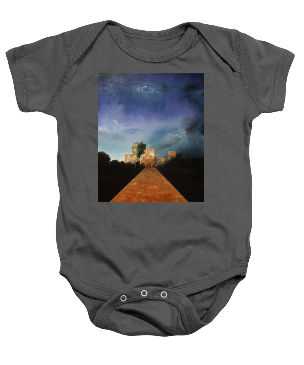 Disclosure Of The Hidden Baby Onesie featuring the painting Disclosure Of The Hidden by Darko Topalski