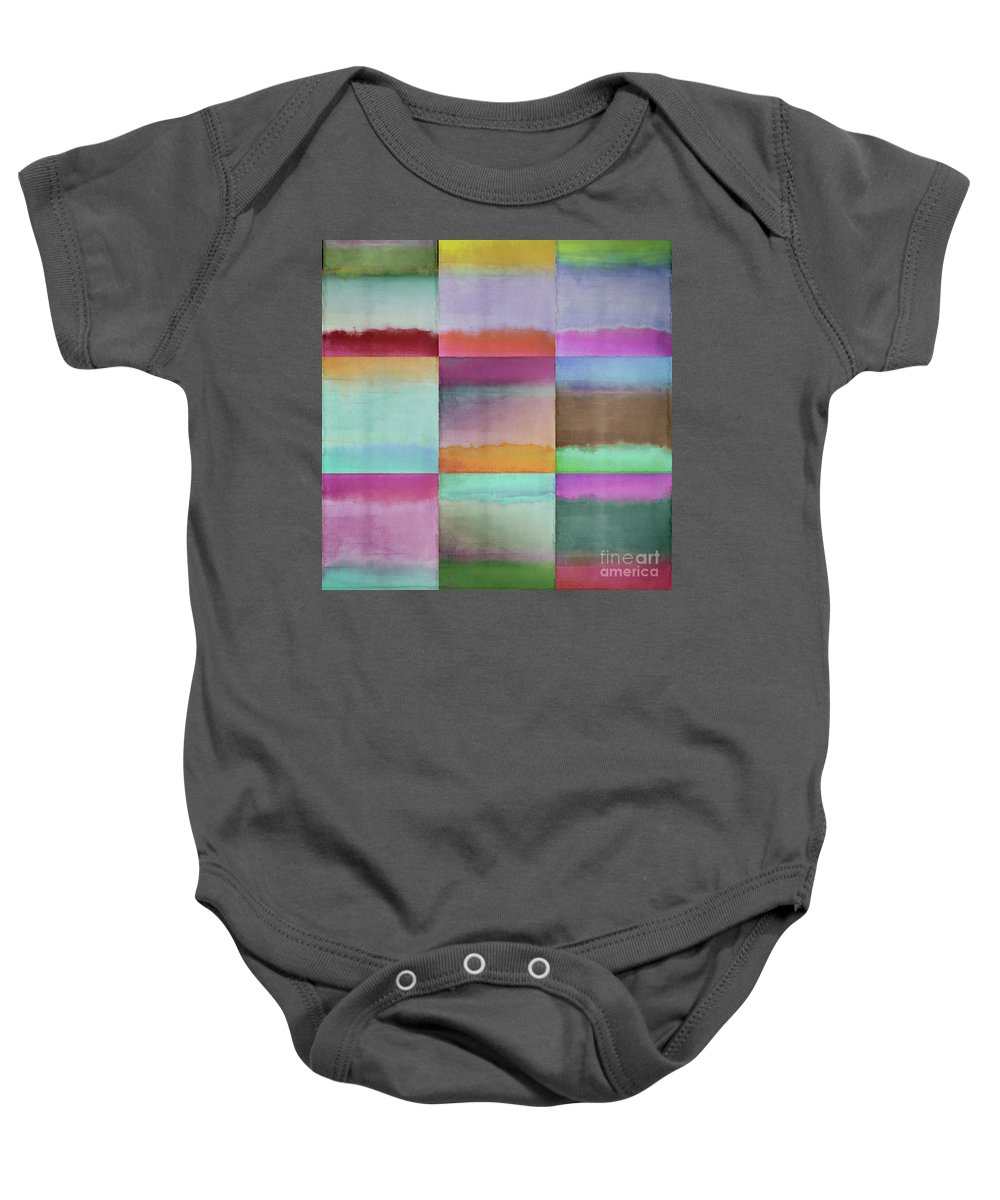 Gradients Baby Onesie featuring the painting Distant Shores by Mindy Sommers