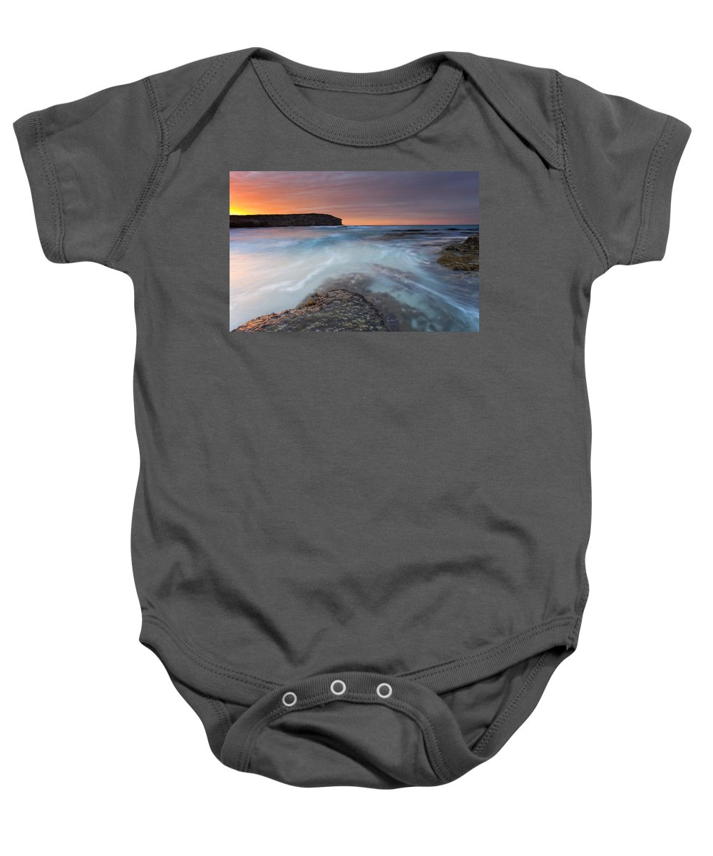Dawn Baby Onesie featuring the photograph Divided Tides by Mike Dawson