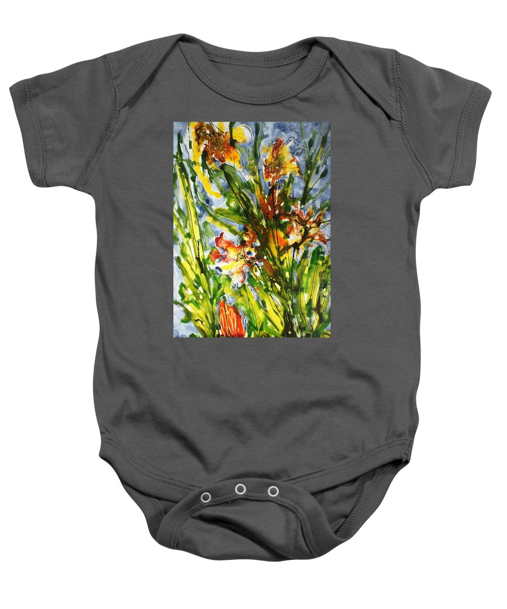 Flora Baby Onesie featuring the painting Divine Blooms-21061 by Baljit Chadha