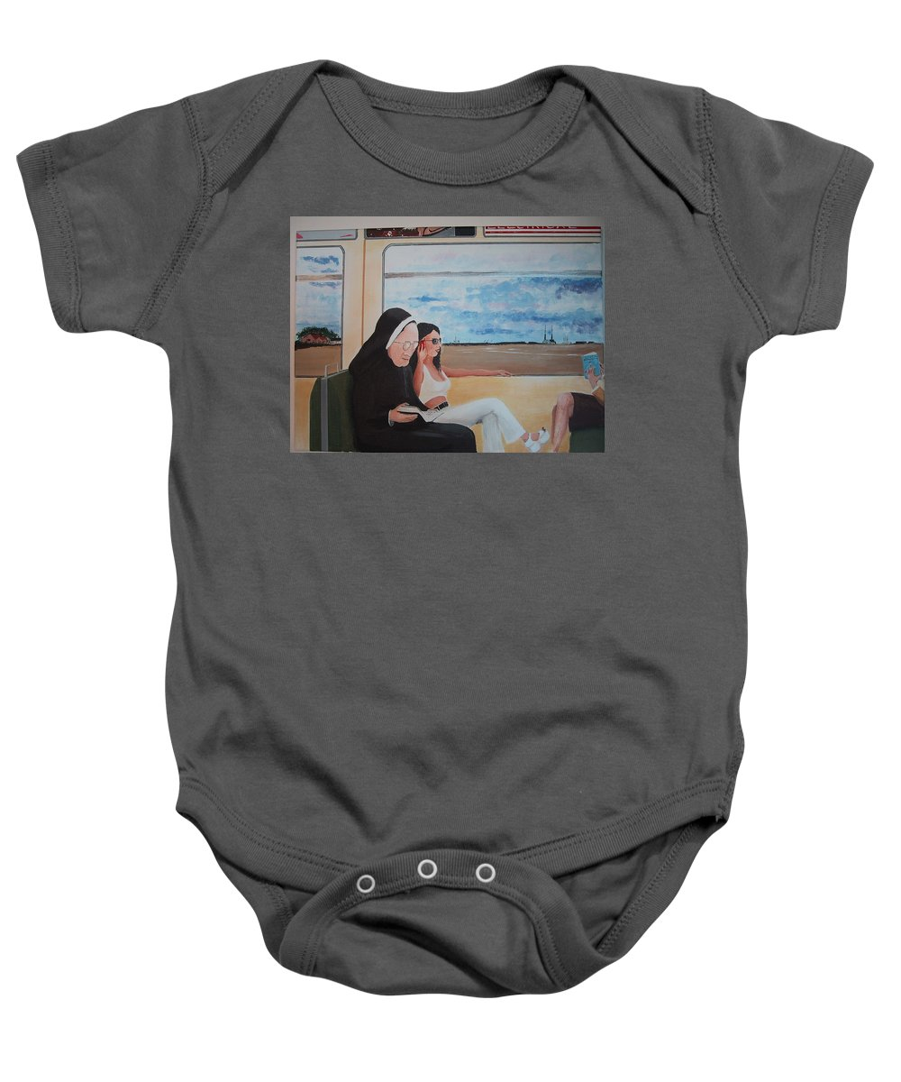 Divine Baby Onesie featuring the painting Divine Secrets by Tony Gunning