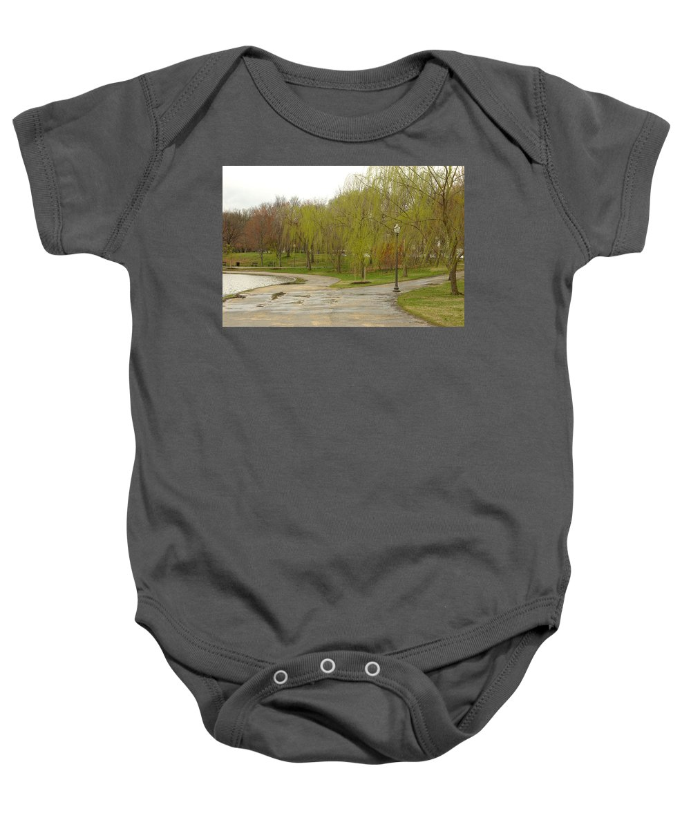 Landscape Park Washington Willow Tree Lake Baby Onesie featuring the photograph Dnrf0401 by Henry Butz