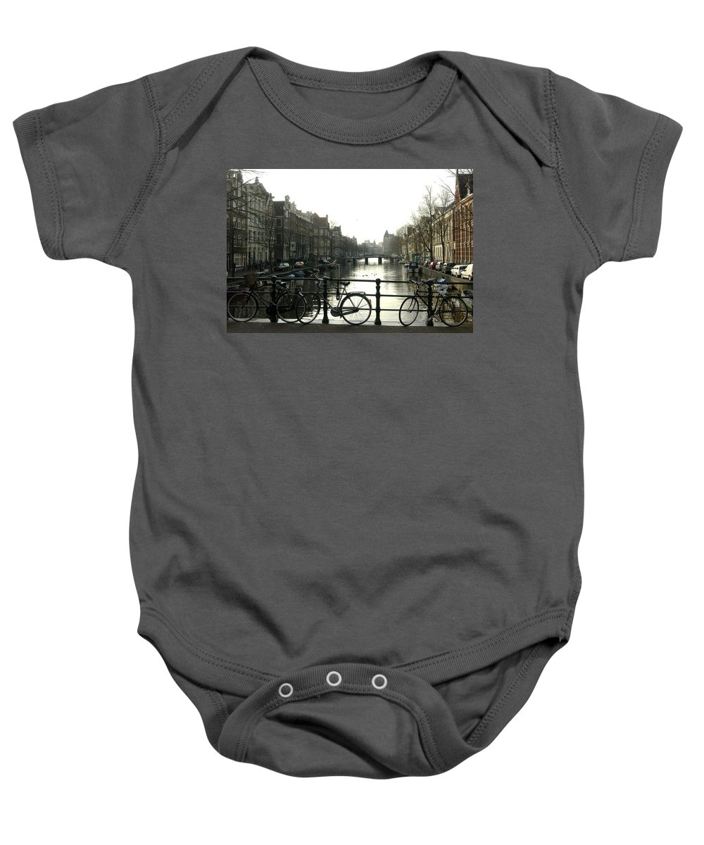 Landscape Amsterdam Red Light District Baby Onesie featuring the photograph Dnrh1103 by Henry Butz
