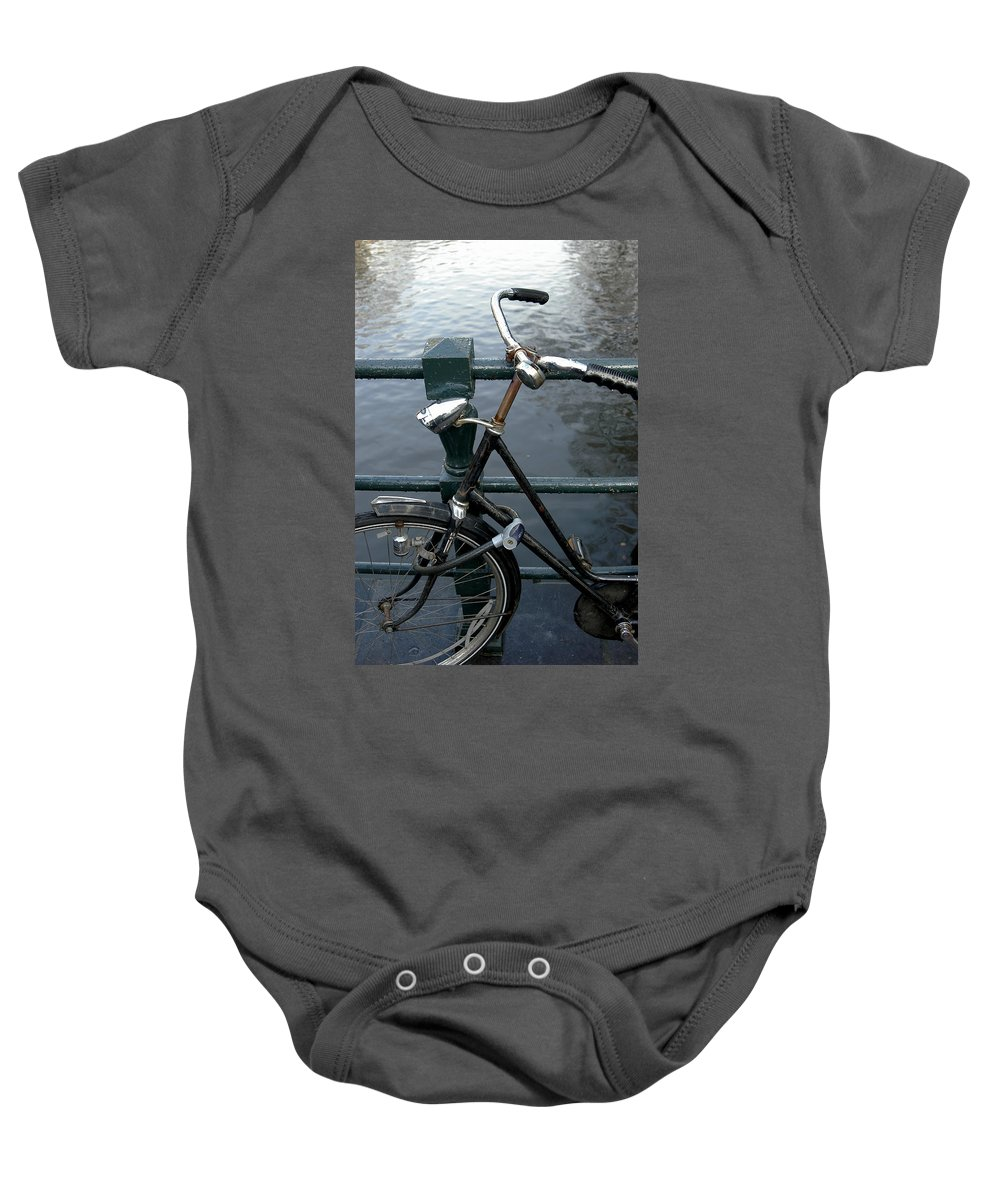 Landscape Amsterdam Red Light District Bicycle Baby Onesie featuring the photograph Dnrh1104 by Henry Butz
