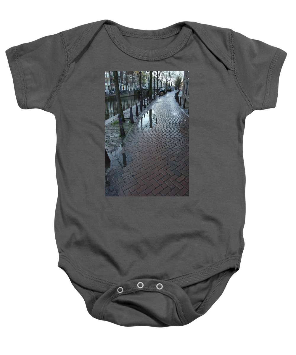Landscape Amsterdam Red Light District Baby Onesie featuring the photograph Dnrh1109 by Henry Butz