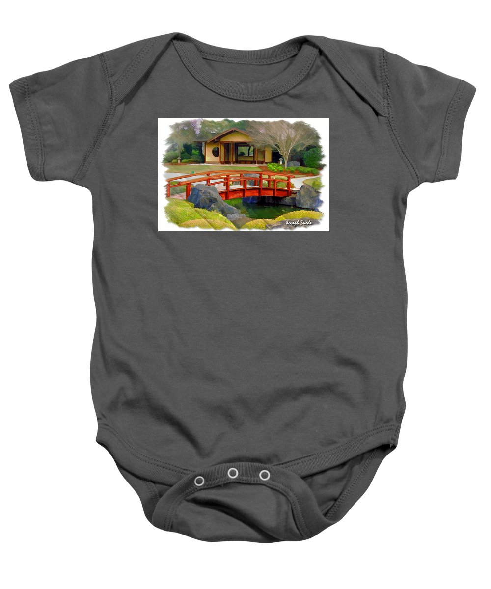 Cypress Bridge Baby Onesie featuring the photograph Do-00006 Cypress Bridge And Tea House by Digital Oil