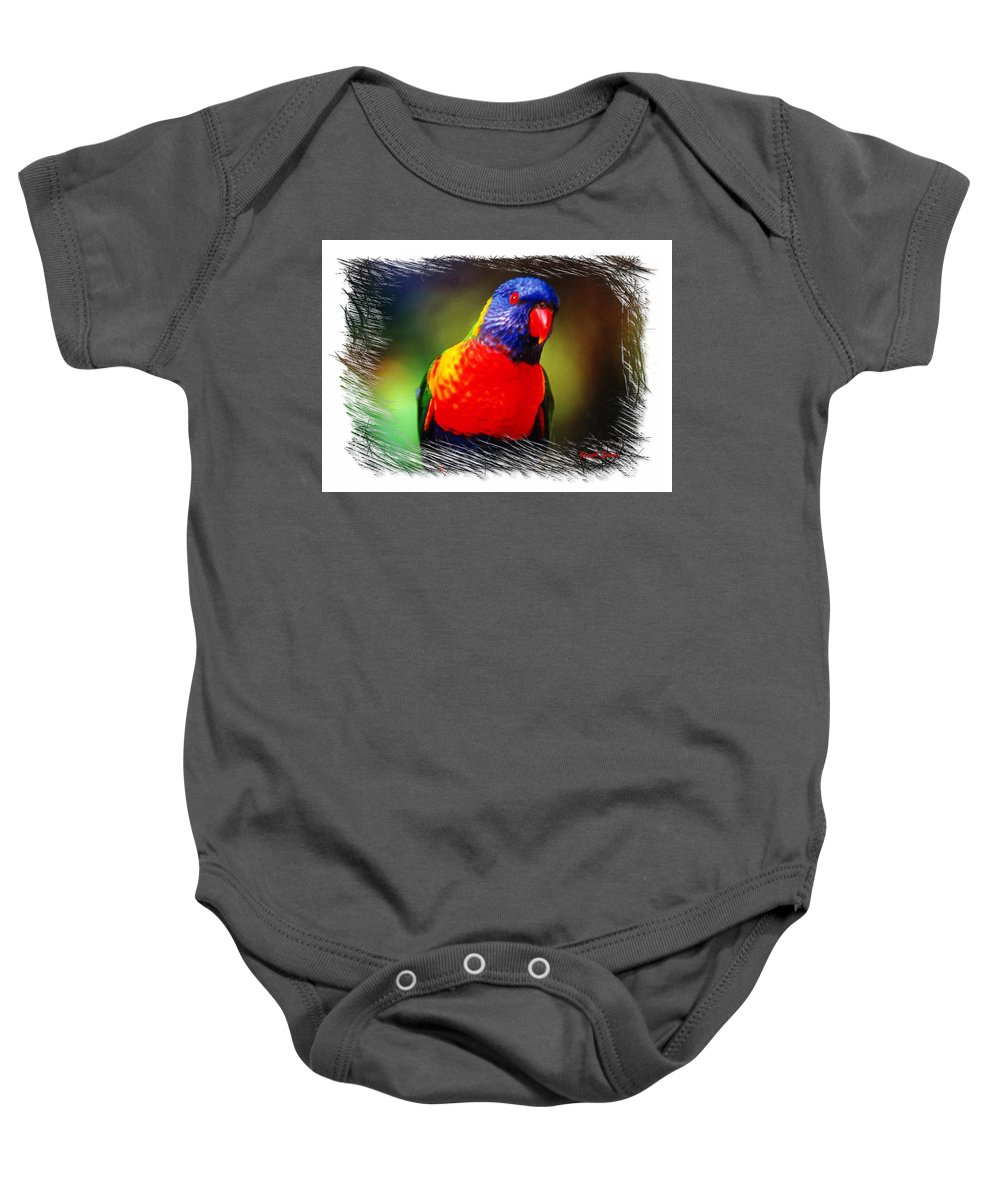 Birds Baby Onesie featuring the photograph Do-00153 Colourful Lorikeet by Digital Oil
