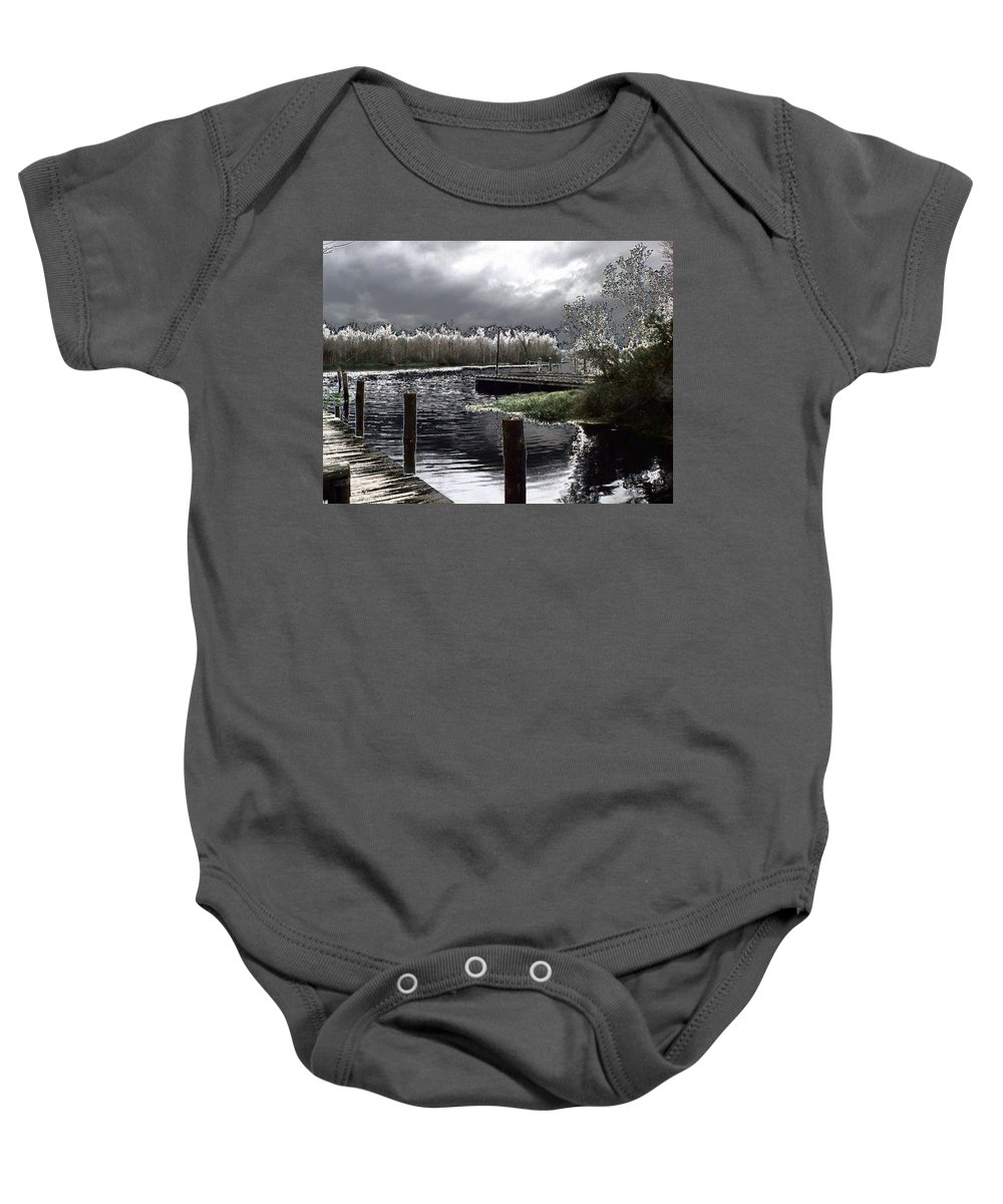 Dock Baby Onesie featuring the photograph Dock At Dusk by Charleen Treasures