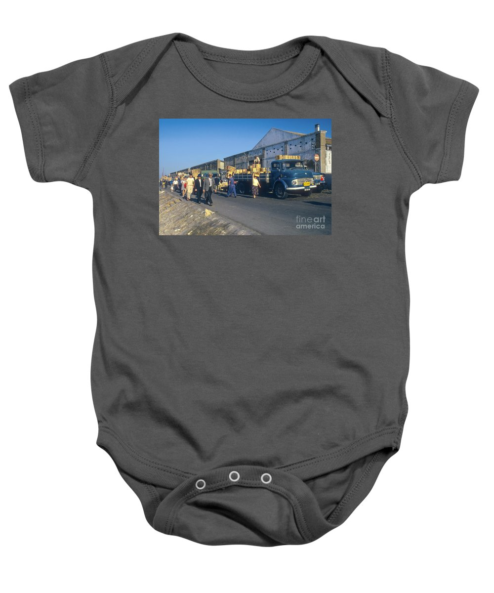Lisbon Portuguese Republic Portugal Men Man Woman Women People Person Persons Creature Creatures Dock Workers Docks Worker Truth Trucks Warehouse Warehouses Cityscape Cityscapes City Cities Digital Art Baby Onesie featuring the photograph Dock Workers by Bob Phillips