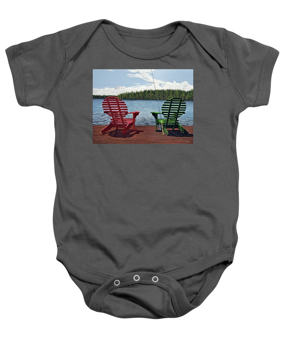 Landscapes Baby Onesie featuring the painting Dockside by Kenneth M Kirsch