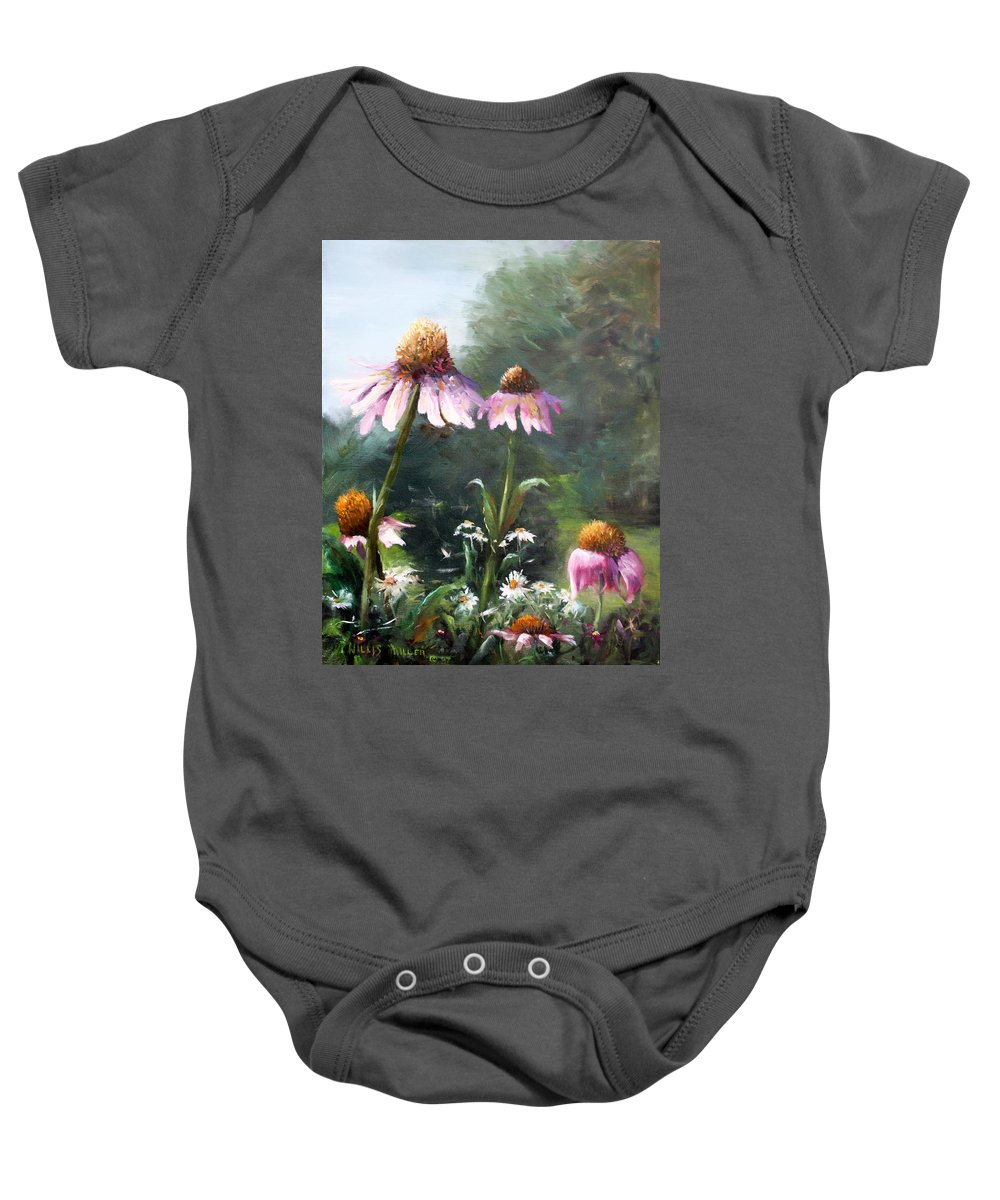 Floral Baby Onesie featuring the painting Doctor In The House by Willis Miller