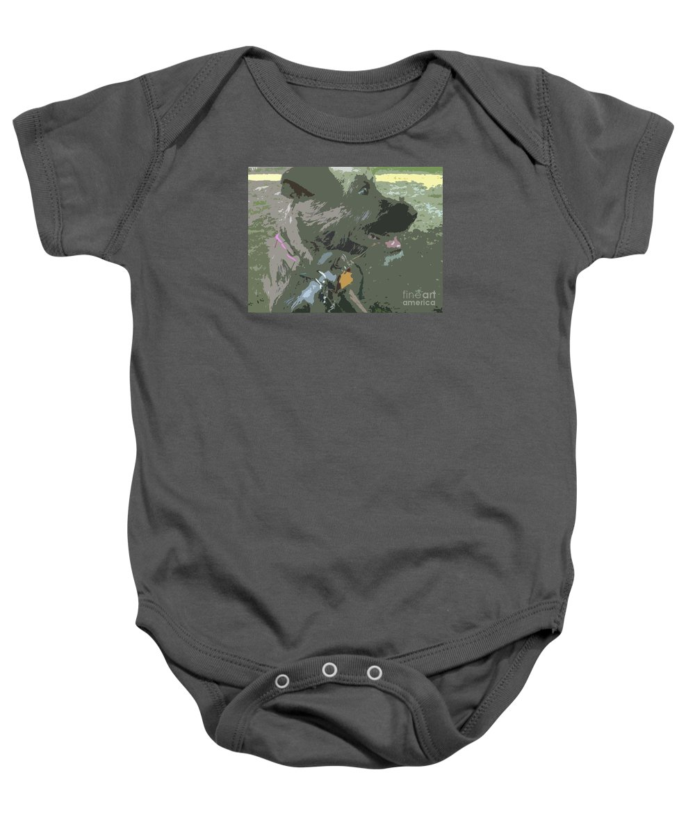 Dog Baby Onesie featuring the digital art Doggie Side by Nissy G