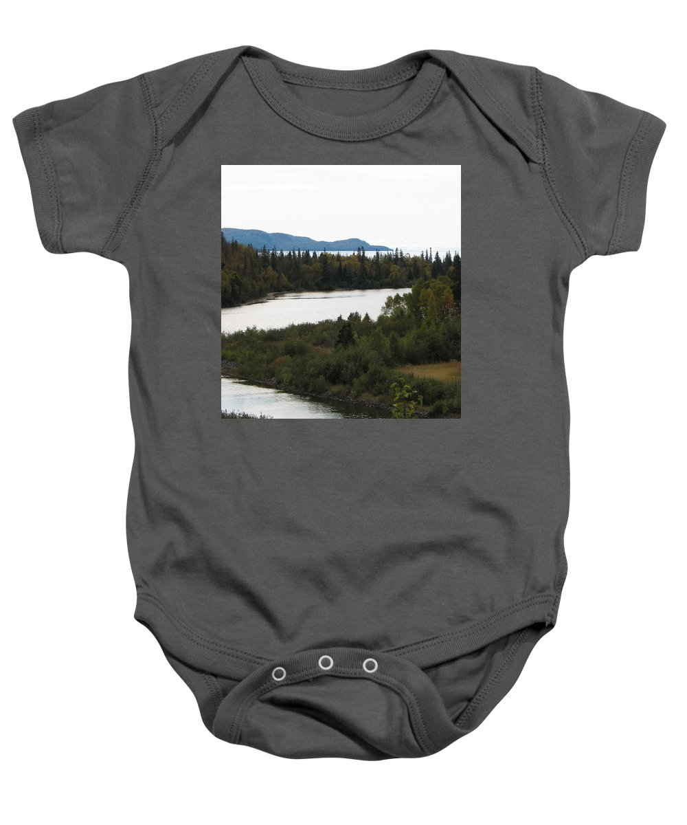 River Baby Onesie featuring the photograph Dogleg by Kelly Mezzapelle