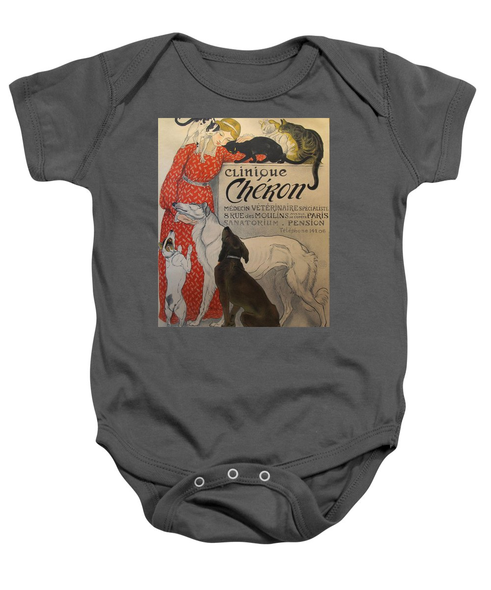 Fun Baby Onesie featuring the painting Dogs by Clinique Cheron