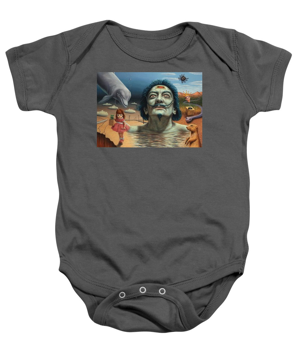 Dali Baby Onesie featuring the painting Dolly In Dali-land by James W Johnson