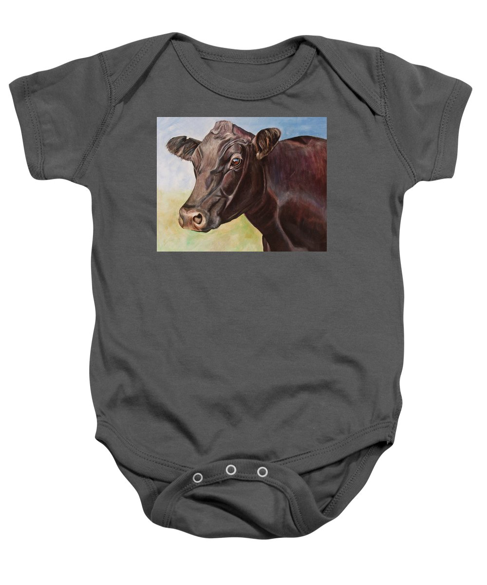 Cow Baby Onesie featuring the painting Dolly The Angus Cow by Toni Grote
