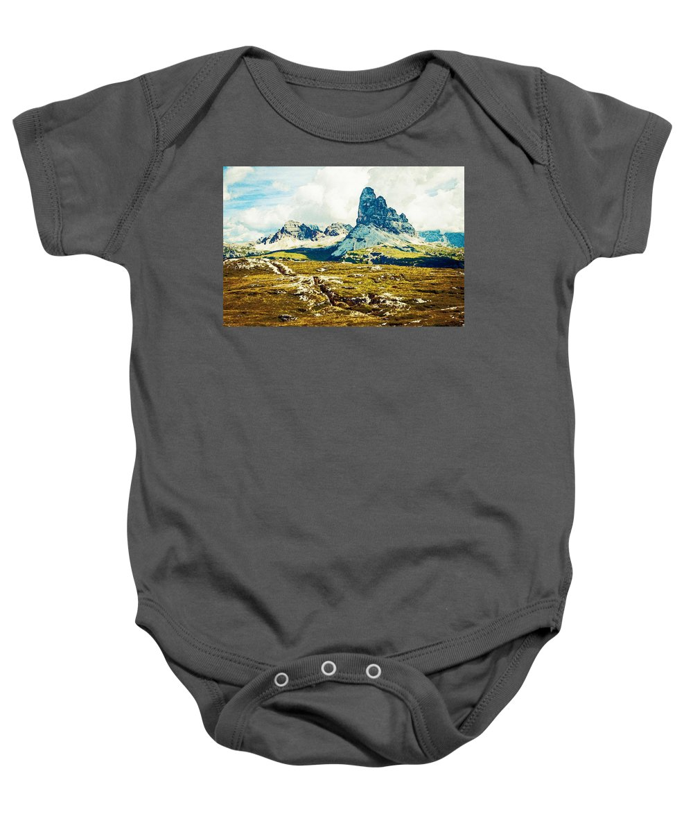 Nature Baby Onesie featuring the painting Dolomites, Monte Piana, Italy by Celestial Images