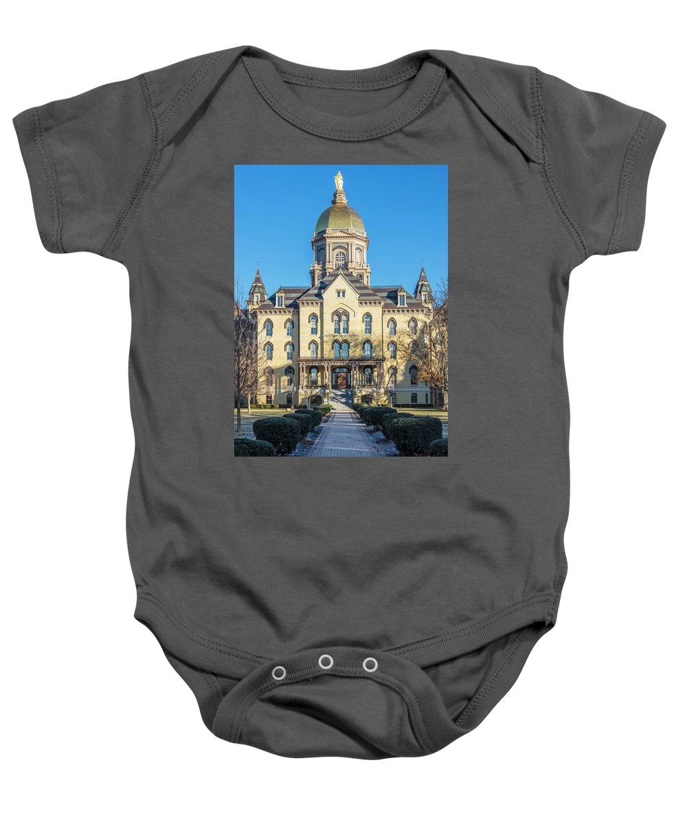 American University Baby Onesie featuring the photograph Dome At University Of Notre Dame by John McGraw