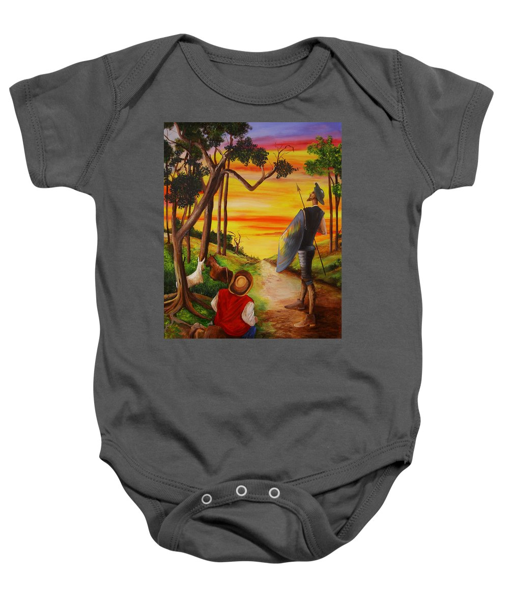 Don Quixote Baby Onesie featuring the painting Don Quixote And Sancho by Dominica Alcantara