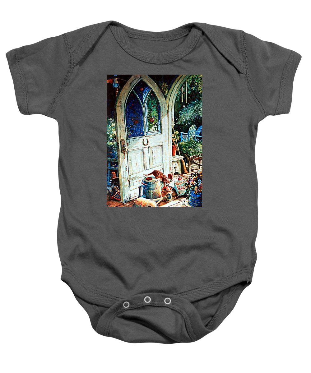Garden Shed Art Baby Onesie featuring the painting Door To My Heart by Hanne Lore Koehler