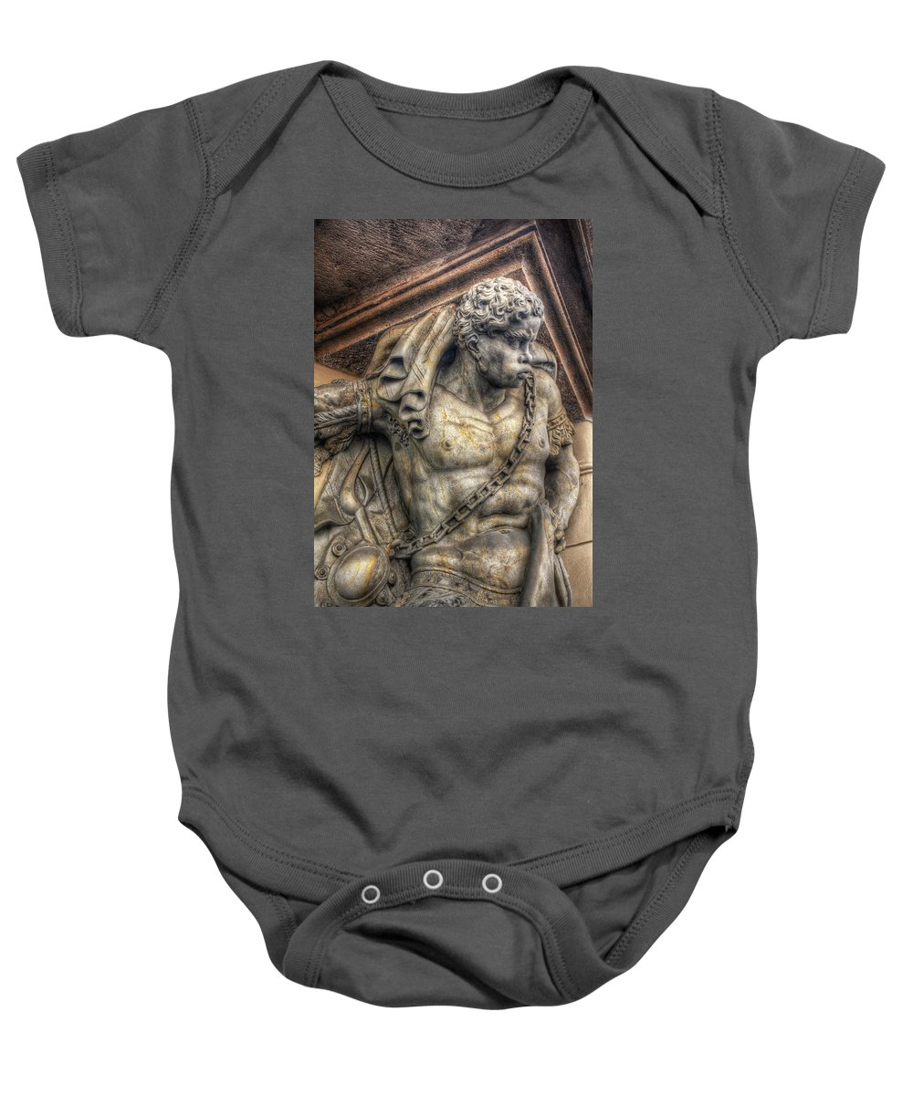 Baby Onesie featuring the photograph Doorway Guardian Mala Strana by Michael Kirk