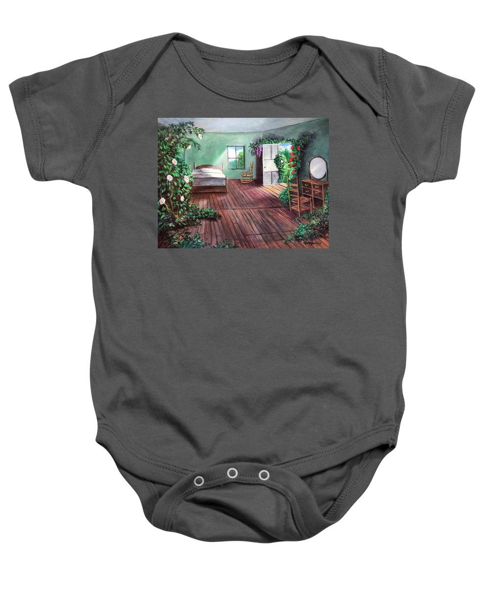 Oz Baby Onesie featuring the painting Dorothy's House After The Passage Of Time by Randy Burns