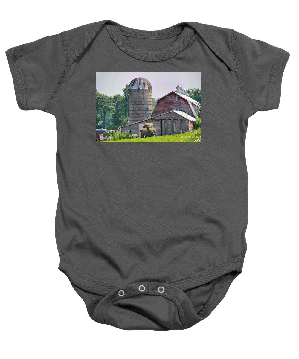 Rural Baby Onesie featuring the photograph Dorset Street Barn by Deborah Benoit