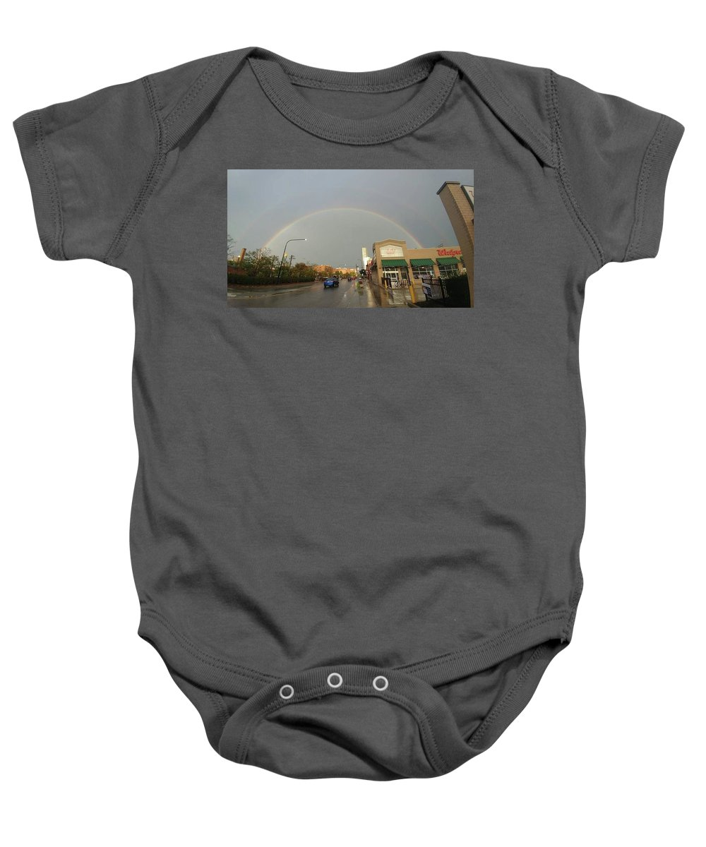 Baby Onesie featuring the photograph Double Rainbow by Rocky Washington