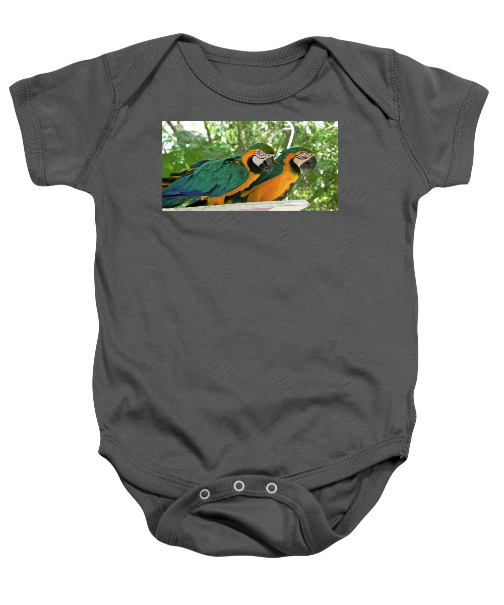 Parrot Baby Onesie featuring the photograph Double Trouble by Maureen Beaudet