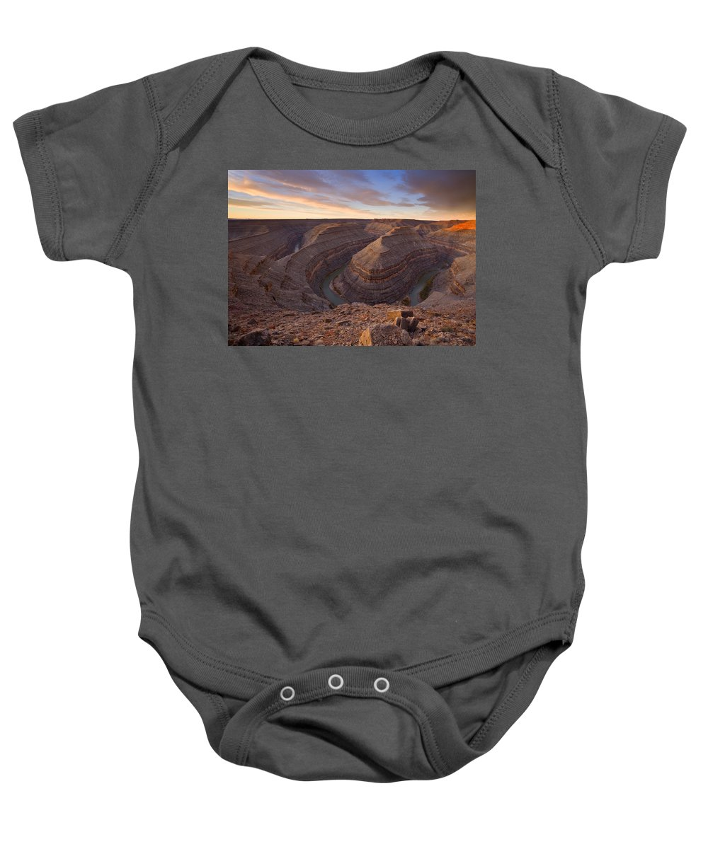 Goosenecks State Park Baby Onesie featuring the photograph Doubleback by Mike Dawson