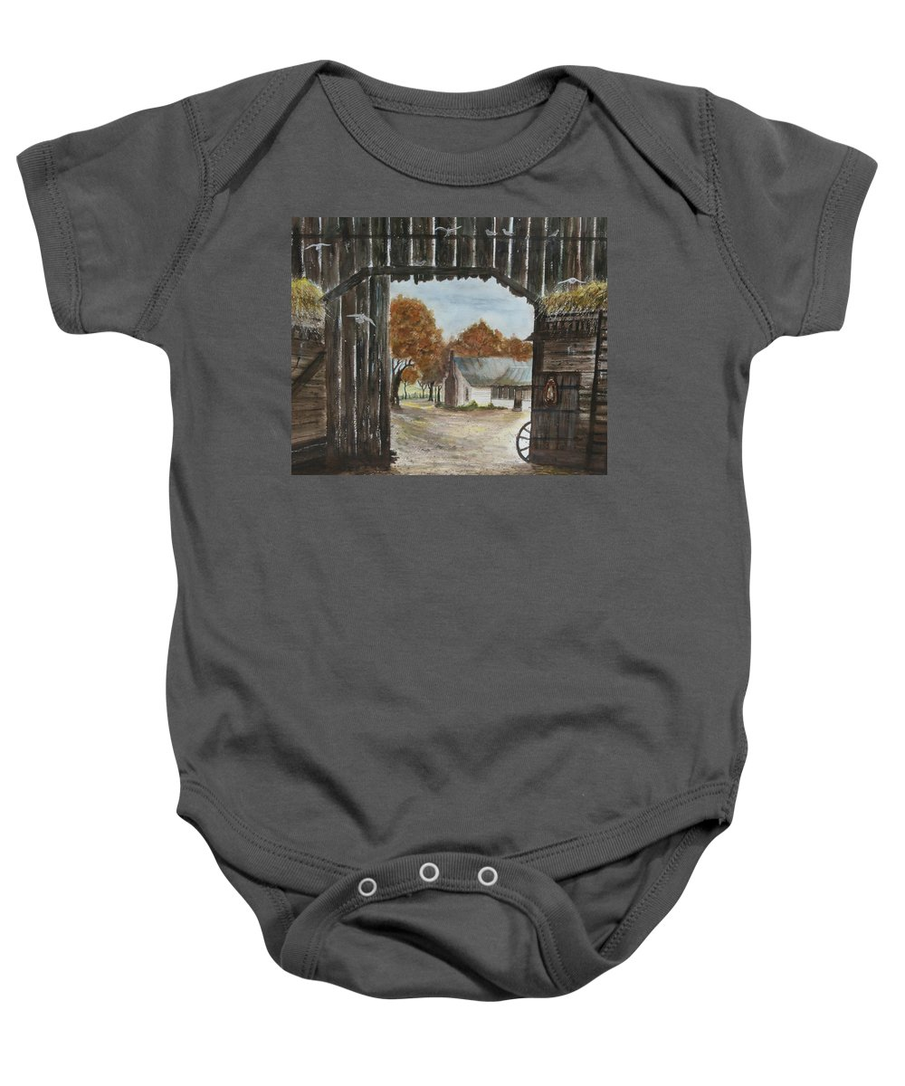 Grandpa And Grandma's Homeplace Baby Onesie featuring the painting Down Home by Ben Kiger