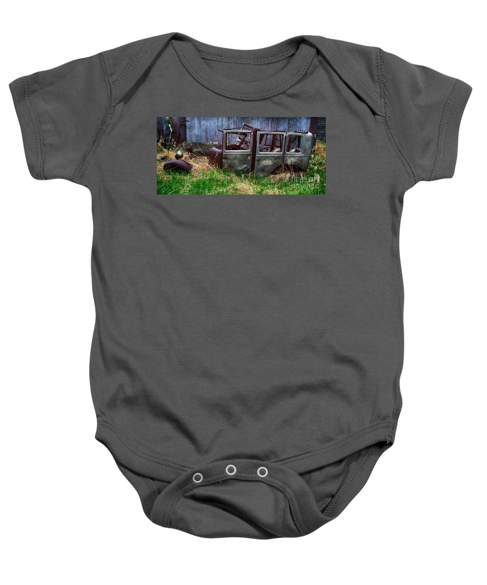 Antiques Baby Onesie featuring the photograph Down In The Dumps 21 by Bob Christopher