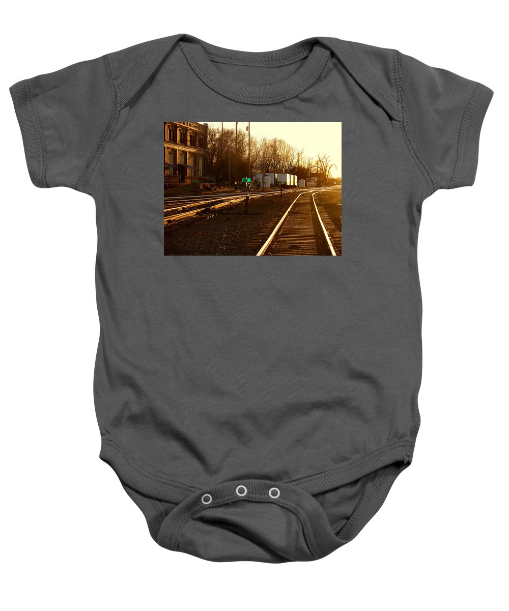 Landscape Baby Onesie featuring the photograph Down the Right Track by Steve Karol