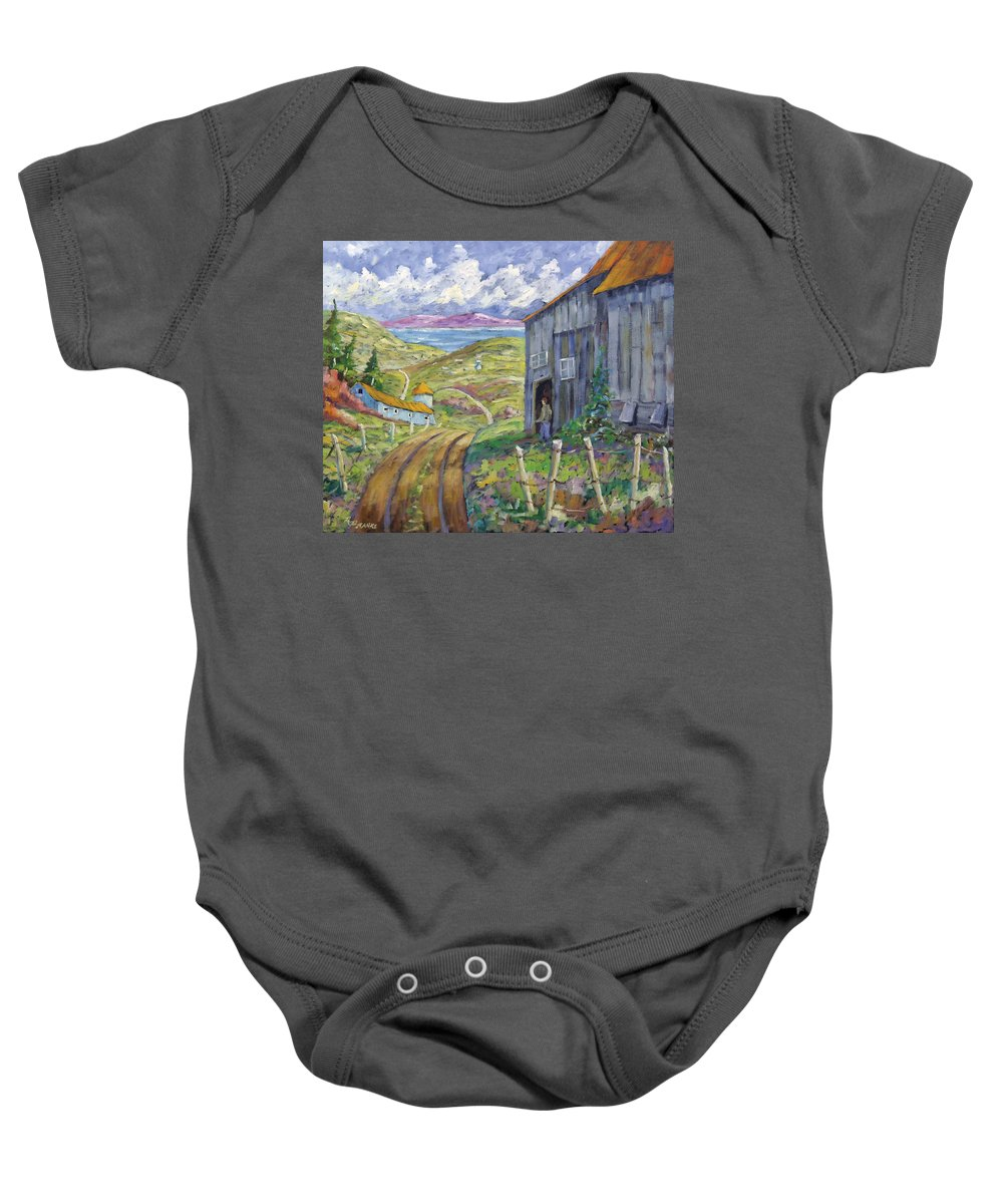Art Baby Onesie featuring the painting Down To The Fjord by Richard T Pranke
