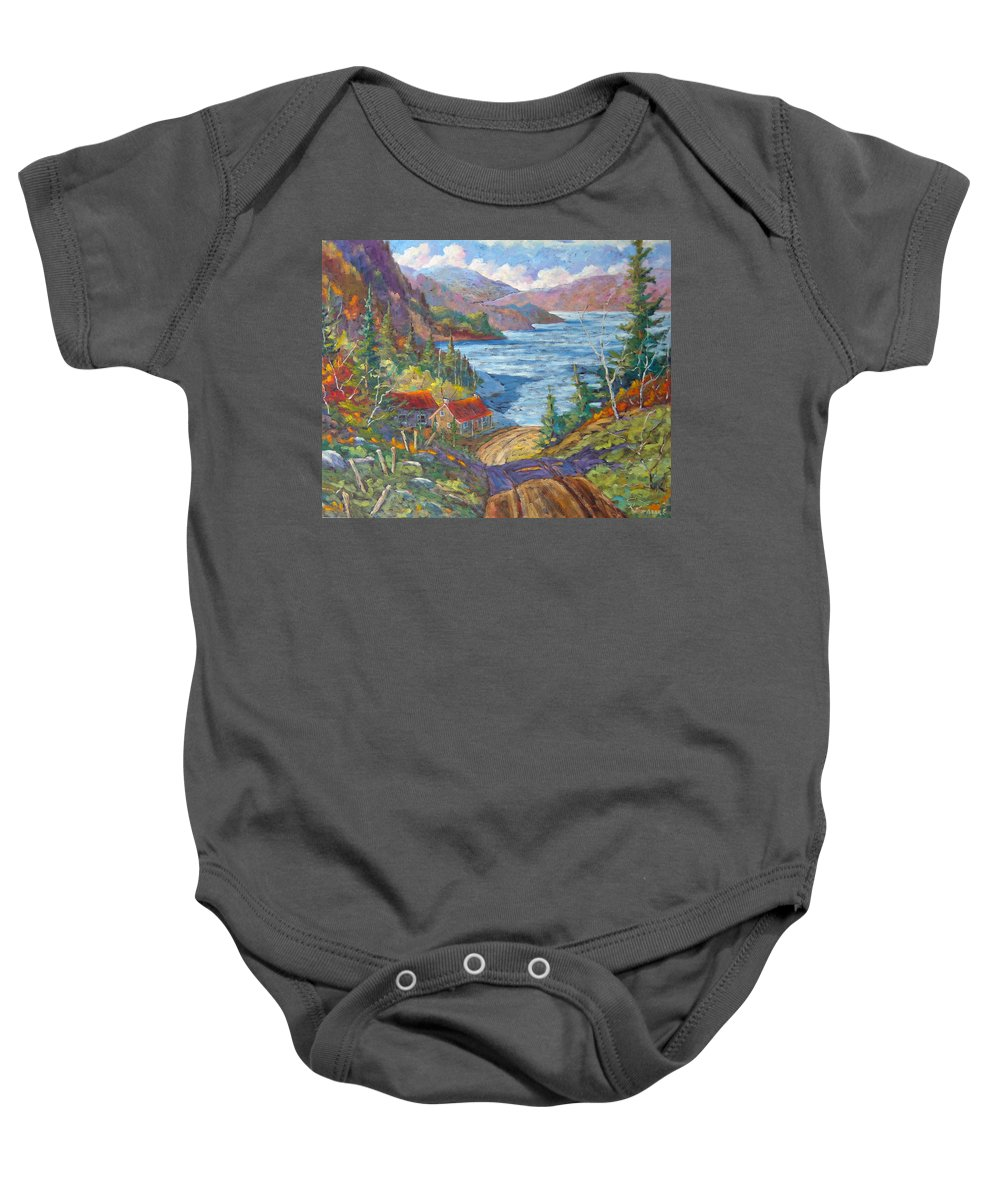 Landscape Baby Onesie featuring the painting Down To The Lake by Richard T Pranke