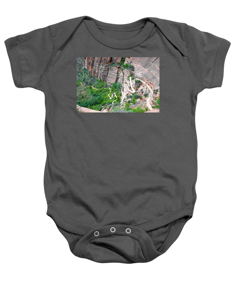 Downhill Baby Onesie featuring the photograph Downhill Switchbacks From Angels Landing by Robert Meyers-Lussier