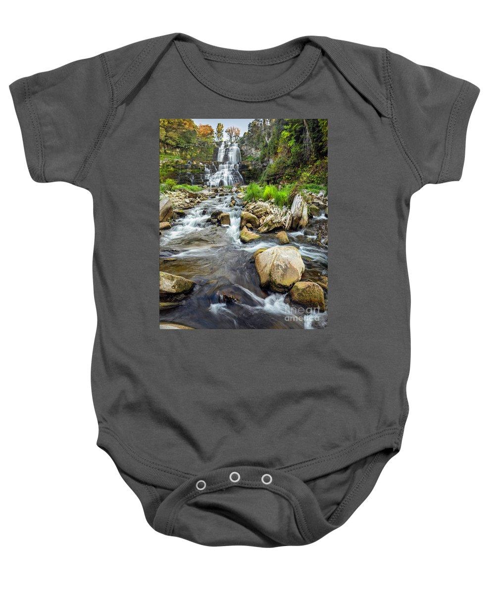 New York Baby Onesie featuring the photograph Downstream From Chittenango Falls by Karen Jorstad